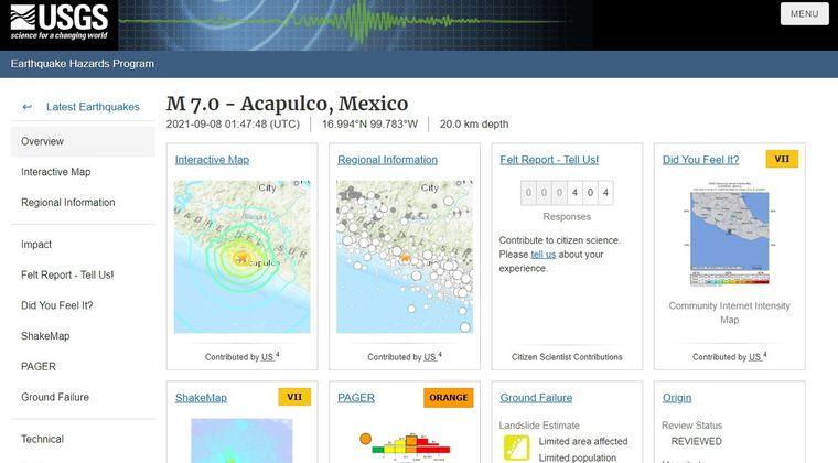 【USGS】メキシコでM7.0の大地震が発生!