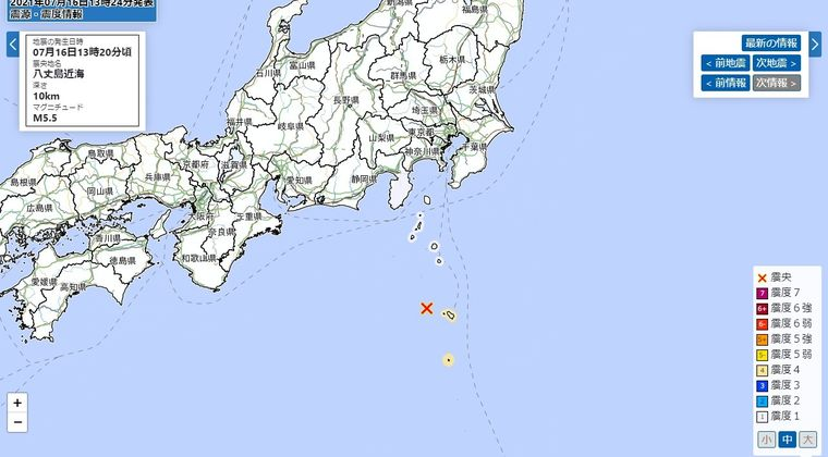 八丈島で最大震度4 M5.5 震源地は八丈島近海