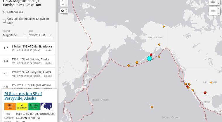 【USGS】アラスカ・アリューシャン列島付近で「M8.2」の大地震が発生!津波の可能性あり、今後に注意