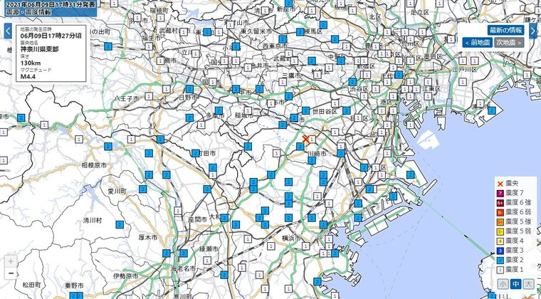 【珍しい】神奈川県東部震源でM4.4の地震発生…最近地震が頻発してるよな