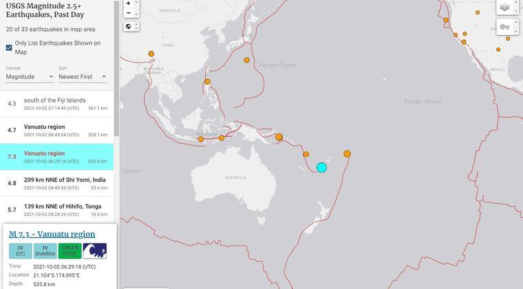 【USGS】バヌアツ諸島近海で「M7.3」の地震発生…震源深さは「約535.8km」