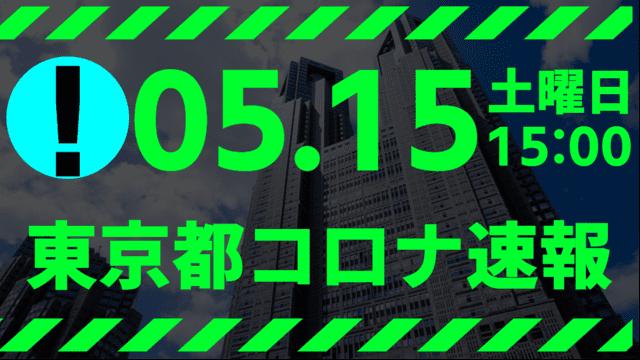 【速報】東京都 新型コロナ感染者数を発表 5月15日 検査数は能力の14.15%に