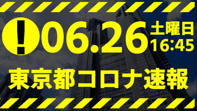 【速報】東京都 新型コロナ感染者数を発表 6月26日 検査数 最大能力の11%に