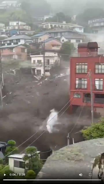 【続報】静岡県熱海市 土石流発生(動画アリ)民家130棟流され20人が安否不明