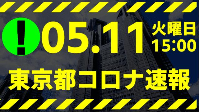 【速報】東京都 新型コロナ感染者数を発表 5月11日 検査数は激減も宣言延長