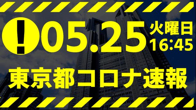 【速報】東京都 新型コロナ感染者数を発表 5月25日 検査数7%台…明日ヤバい