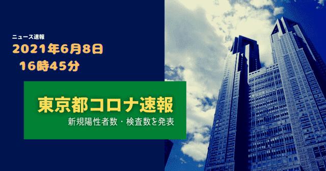 【速報】東京都 新型コロナ感染者数を発表 6月8日 検査数 最大能力の6.24%