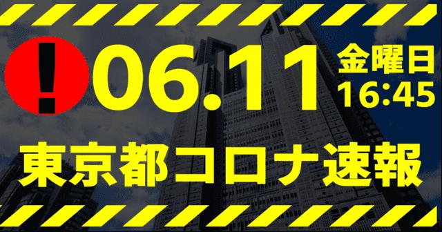 【速報】東京都 新型コロナ感染者数を発表 6月11日 検査数 最大能力の12%台