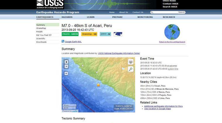 南米ペルーでM7.0の地震発生
