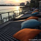 ブリ・タラで川に沈む夕日を見ながら夕食 near BRT ワット・パリワート駅