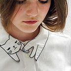 【画像】首もとの猫がかわいい!キャットブラウス!!
