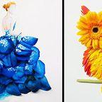 【画像】本物の花で描いたアートが華やかで癒される!!
