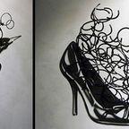 【画像】針金クネクネ!針金の影を使ったアートが凄い!!