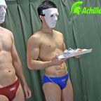 最後までモザイクなし?体育会2人が競パン履いたまま電マの刺激で射精!